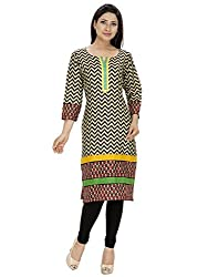 Tanvi Peach Cotton Straight Kurti For Women