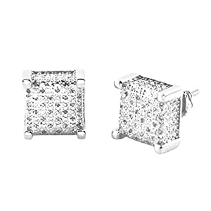 Sterling Silver 0.20 cttw White Diamond Princess Cut Pave Prong Earring Studs