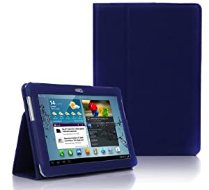Dark Blue Samsung Galaxy TAB 2 10.1 P5100 - Leather Case Cover and Flip Stand Typing Case Wallet With Magnetic Closure Plus Free Stylus Pen (Touch-Screen Pen)