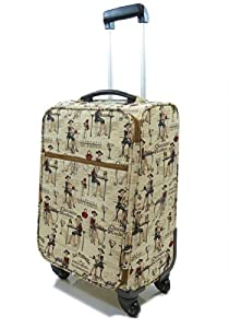 Tapestry canvas Travel Luggage/Overnight/Cabin bag/Suitcase 4 wheeled with retractable handle (Cafe) - Gobelin Style