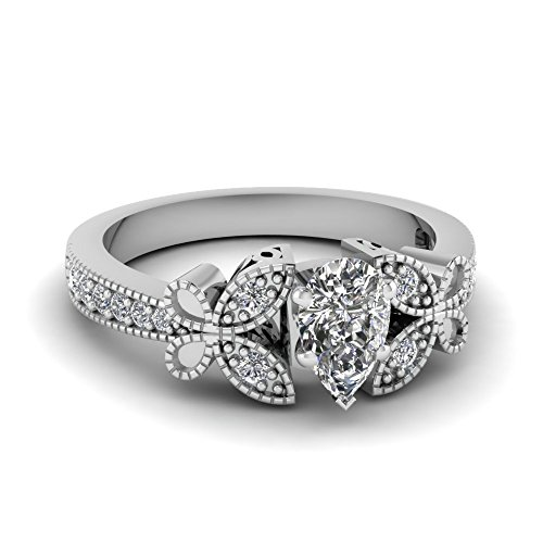 Fascinating Diamonds 0.85 Ct Pear Shaped Diamond Engagement Ring Cut:Very Good D-Color 14K Gia