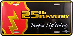 "Metal Car License Plate - US Military 25th Infantry ""Tropic Lightning"""
