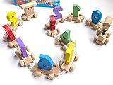 木のぬくもり」が心地いい!!汽車 知育 玩具 木のおもちゃ アルファベット 数字 (すうじ)
