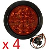 "SET OF 4 AutoSmart KL-25108RK 4"" ROUND LED STOP TURN TAIL RED LEN LIGHTS INCLUDES LIGHTS, GROMMET, PLUG FOR TRUCK TRAILER"