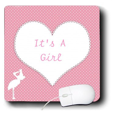 Mp_174303_1 Florene - Special Events - Image Of Baby Girl Announcement On Heart - Mouse Pads
