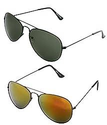 MagJons Green And Yellow Mirror Aviator Sunglasses Set Of 2 (With Box)