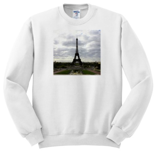 Ss_38320_1 Lenas Photos - Paris - The Eiffel Tower Itself On A Cloudy Day In One Of A Kind Paris - Sweatshirts - Adult Sweatshirt Small