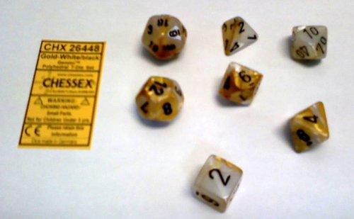 Polyhedral 7-Die Gemini Dice Set: Gold & White With Black (D4, D6, D8, D10, D12, D20 & D00)