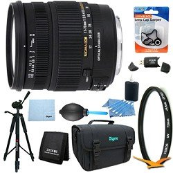 Sigma 17-70mm f/2.8-4 DC Macro OS HSM Lens for Canon EOS Mount DSLR Lens Kit Bundle
