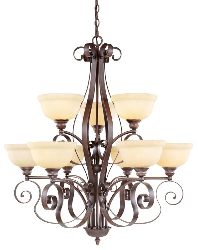 B00563ZDRQ Livex Lighting 6159-58 Manchester 9 Light Two Tier (6+3) Imperial Bronze Chandelier with Vintage Alabaster Glass