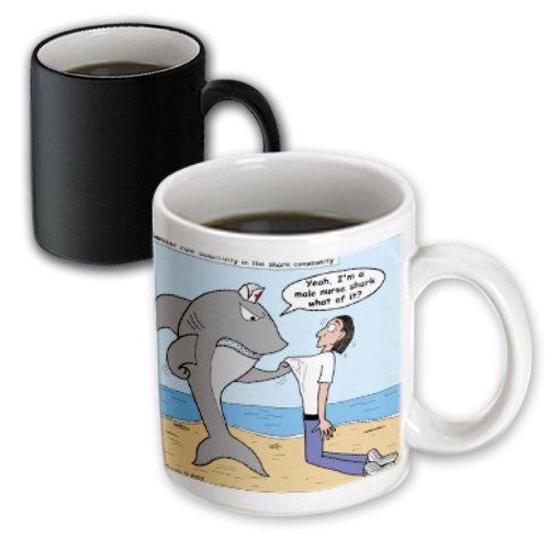 Mug_2774_3 Rich Diesslins Funny General - Editorial Cartoons - Male Nurse Shark - Mugs - 11Oz Magic Transforming Mug