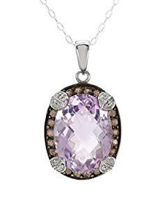 FPJ Attractive Necklace With 8.35ctw Precious Stones - Genuine Amethyst, Topazes Beautifully Designed in 925 Sterling silver. Total item weight 5.0g Length 18in