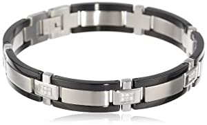 Men's Stainless Steel Bracelet with Diamond-Accent and Black Plating (1/4 cttw)