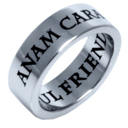 ANAM CARA - SOUL FRIEND - IRISH CELTIC RING - Inspirational Jewelry- High quality etched stainless steel ring. Hypo-allergenic. Inspirational Relationship Jewelry Wedding Band / Wedding Ring / Promise Ring. SIZE 6