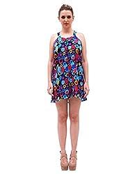 Irresistible designer Polka dot Print multicolor Georgette Casual wear V-Neck Sleeveless mini 1 piece western dress for ladies |Runway inspired look