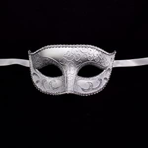Burlesque-Boutique Women's Sexy Sparkle Venetian Half Mask-Mardi Gras Halloween Costume Party, White/Silver, One Size