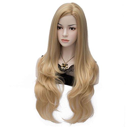 Amybria Femmes Cosplay Droite Longue Perruque Blond Pleine Natural Hair Cap Gratuit Blond