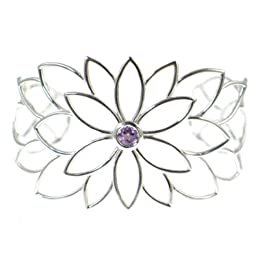 Dean Harris for Target Sterling Silver Flower Amethyst Cuff Bracelet : Target from target.com
