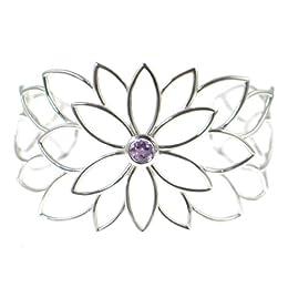 Dean Harris for Target® Sterling Silver Flower Amethyst Cuff Bracelet : Target