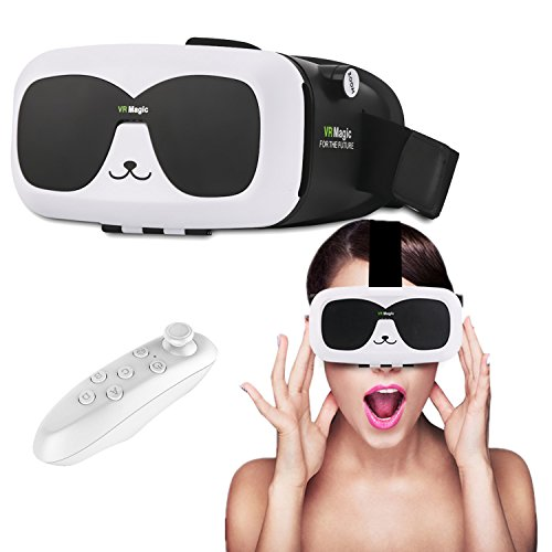 3D VR Headset/Glasses, Tsanglight Virtual Reality Headset with Remote for 4.0-6.0inches IOS/Android, for iPhone 7 7 Plus 6 6S Plus Samsung Galaxy S7 Edge S6 Edge S5 LG Sony etc Smartphones - White