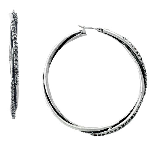 Jessica Simpson Silver?Tone Twist Hoop Earrings