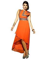 Shonaya Orange Color Designer Embroidery Faux Georgette Stitch Kurti