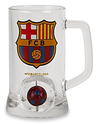 Official Licensed FC FCB Barcelona Beer Glass Mug With Mini Spinning Ball - Licensed FC Barcelona Merchandise