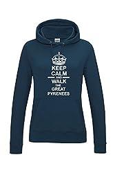Keep Calm & Walk The Great Pyrenees Dog Womens Hooded Sweatshirt