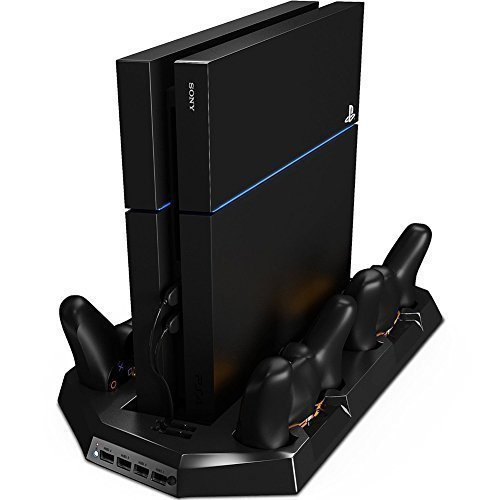 Mondpalast Vertical Console Station with Controller Charger and Cooling Fan for Playstation 4 PS4 (Ps3 Console Cooling Fan compare prices)