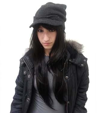 Knit Beanie Visor Hat - Scull Cap Style - Black