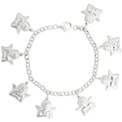 Sterling Silver Guardian Angel Charm Bracelet, 13/16