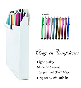 eimo-Electronics 10-IN-1 STYLUS PENS PACK - iphone/ipad/tablet/SAMSUNG GALAXY BEAM i8520 - Green / White / Pink / Silver / Baby Blue / Black / Gold / Purple / Red / Blue - VALUE PACK-Original by eimo
