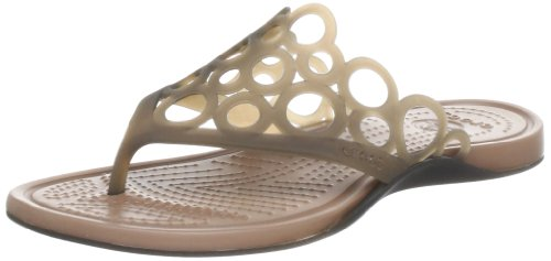 Crocs Women's Adrina Bubbles - Espresso/Bronze Flip Flops 14116-25M-413 3 UK