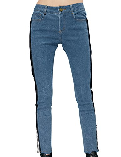 Elf Sack Women'S Winter Jeans Midrise Washed Zippers Fit Slim Skinny Trousers