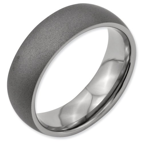 Titanium Beveled Edge, Stone Finish 7mm Band ring