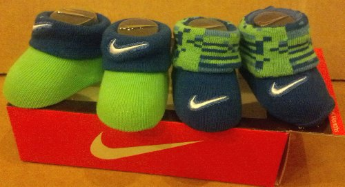 Nike Newborn Infant Booties 0-6 Months Green Blue