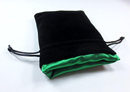 4x5 Elven Green Premium Black Velvet Dice Bag with Strong Green Satin Lining (Dice Bag Capacity is 5 Sets / 35 Dice)