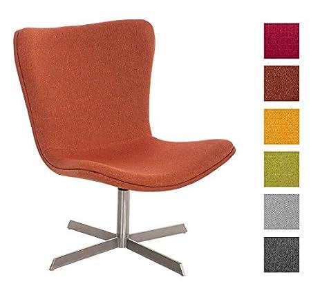 CLP Edelstahl Lounge-Sessel ARUBA mit Stoffbezug im trendigen Design, Sitzhöhe 39 cm, bis zu 6 Farben wählbar Orange