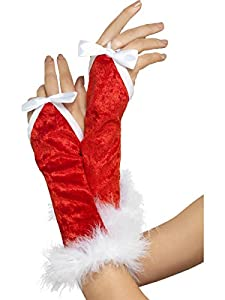 Smiffys Santa Gloves with Finger Tie and Marabou (Red)