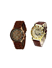 COSMIC COMBO WATCH- BROWN STRAP ANALOG WATCH FOR WOMEN AND BROWN ANALOG SKELETON WATCH FOR MEN