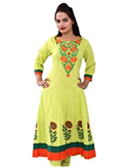 Chhipa Women Hand Block Printed P.Green Anarkali(1045_P.gree...