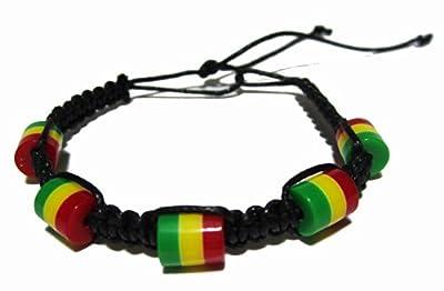 Rasta Hemp Bracelet - Made with Rasta Beads - Black Hemp Cord - Rasta Bracelet