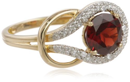 Garnet and Diamond Love Knot Ring in 10kt Yellow Gold (0.03 cttw, I-J Color, I2-I3 Clarity), Size 7