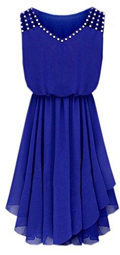 La Vogue-Vestito Corto di Chiffon Senza Manica Vestito Party Donna (Blu, Petto di 90cm)