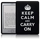 AMAZON KINDLE 4 KEEP CALM & CARRY ON LASERED SILICONE CASE / SKIN / COVER / SHELL - BLACK/WHITEby Terrapin