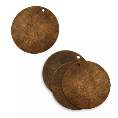 Vintaj Natural Brass Rustic Altered Blank Circle Pendants 25mm (4)