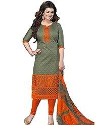 DivyaEmporio Women's Cotton Resham Salwar Suit Dupatta Unstitched Dress Material (Green_Free Size)