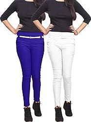 Xarans Stylish Blue & White Cotton Lycra Zip Jegging Set of 2 Pcs