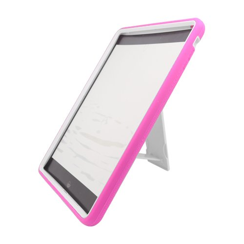 #!  Apple iPad Air (iPad 5 5th Generation) Rugged Hybrid Skin Case with Kickstand - White/Hot Pink