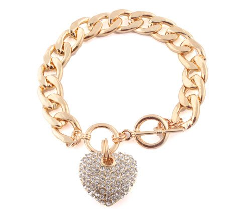 Gold  Clear Iced Out Heart 8.5 Inch Cuban Link